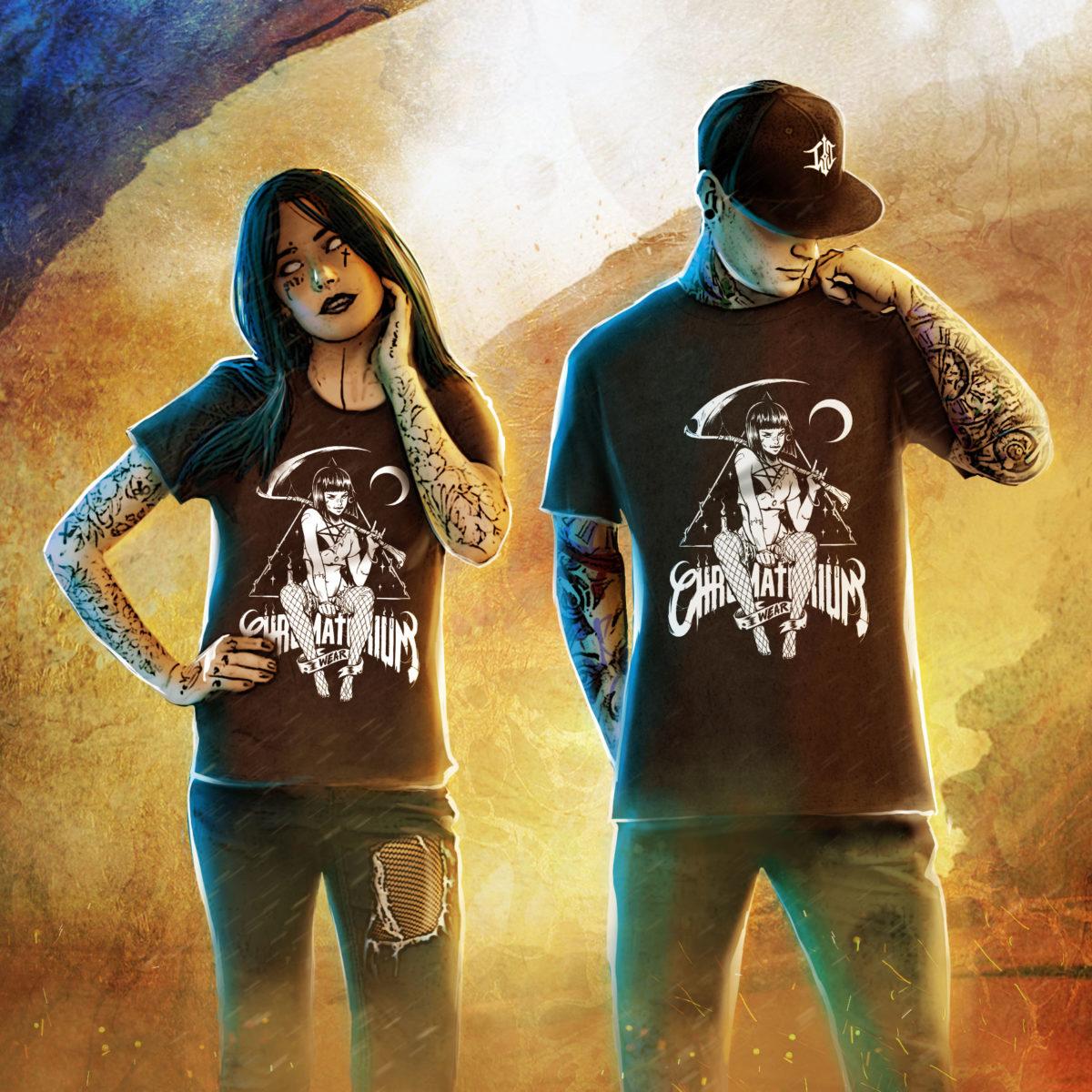 t-shirt noir avec impression sérigraphie sorcière girl witch tattoo