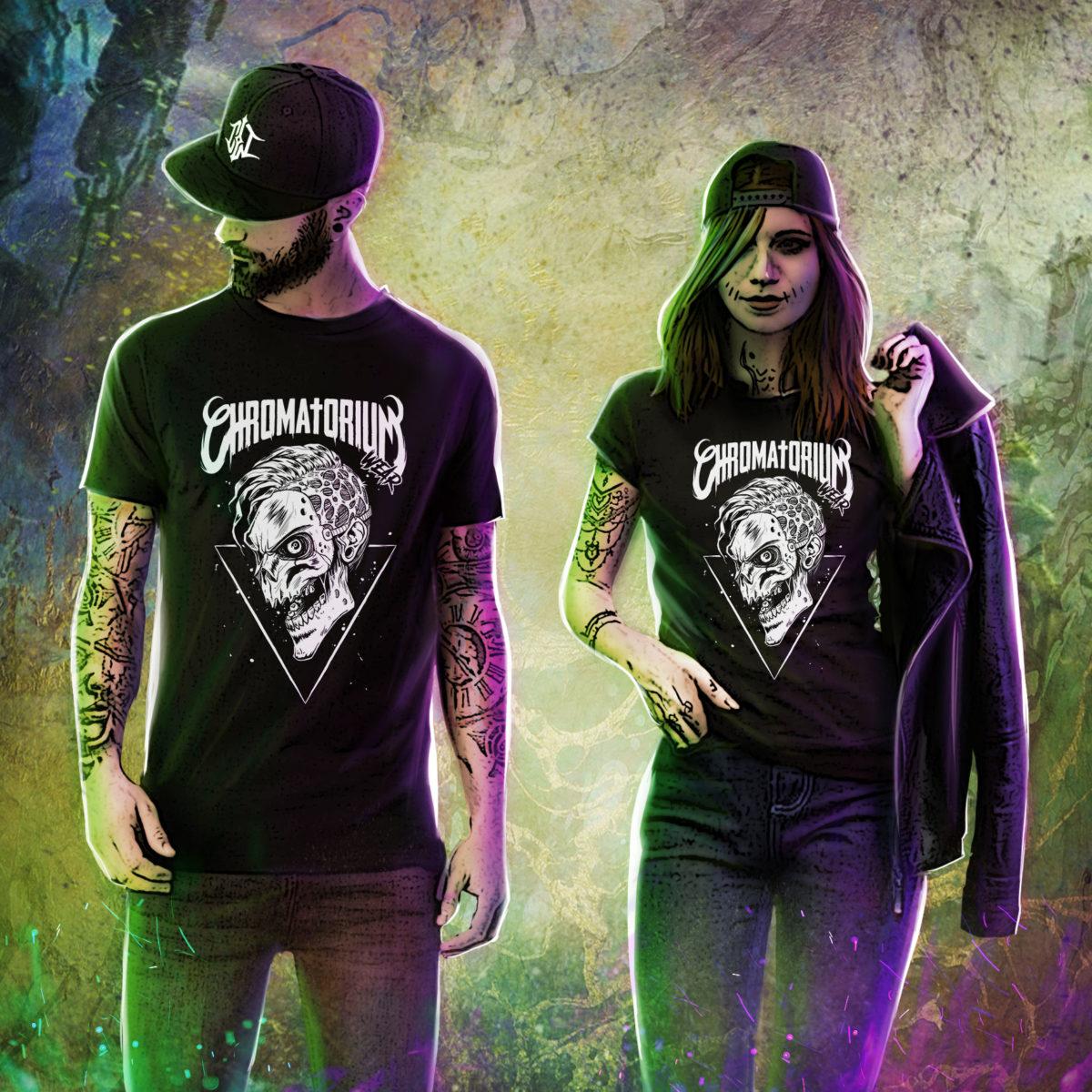 t-shirt noir avec impression sérigraphie tète de mort skull tattoo