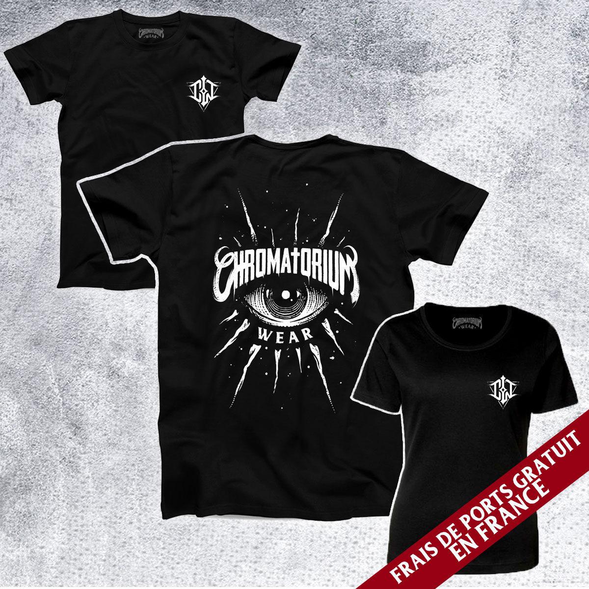 t-shirt noir avec impression sérigraphie oeil eye tattoo