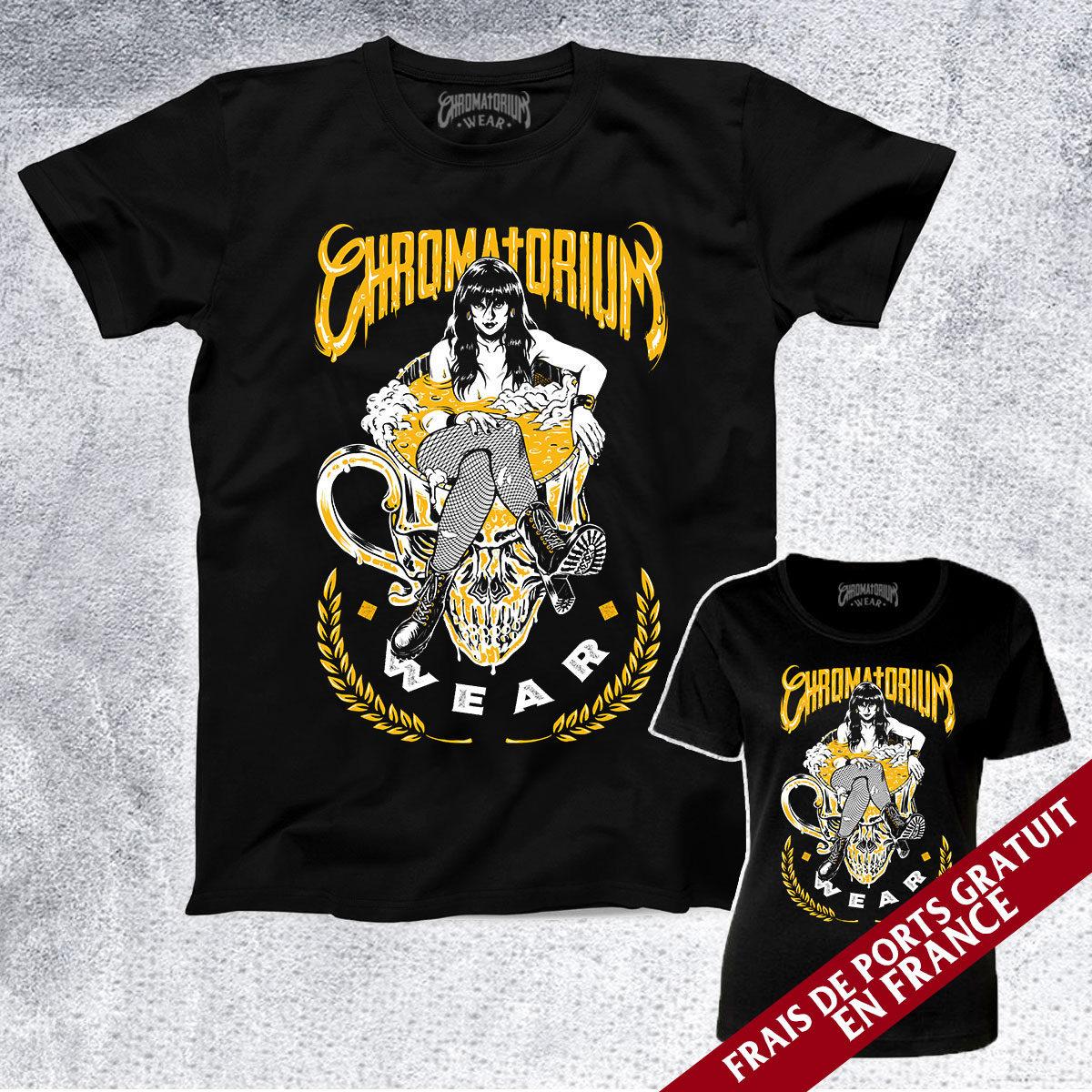 t-shirt noir avec impression sérigraphie girl bière beer tattoo